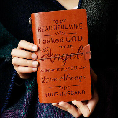 To My Wife Love Always Love Husband Engraved Leather Journal Notebook Diary
