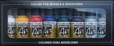 Vallejo Model Air Set - Basic Colours (X8) VAL 71174