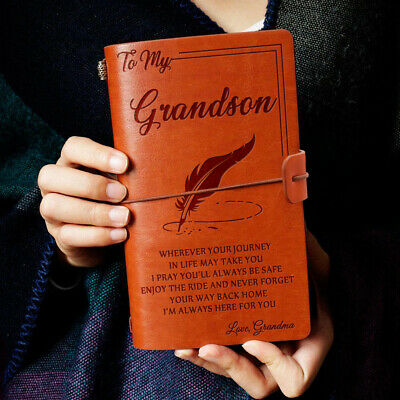 To My Grandson Always Here Love Grandma Engraved Leather Journal Notebook Diary