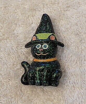 New Halloween Pin Brooch Happy Black Cat Wearing A Witch Hat Spooky Ghost Go Top