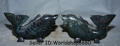 "8"" China Old Xiu Jade Carved Feng Shui Animal Fish barracuda Lucky Statue Pair"