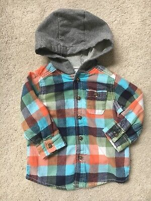 Carters Baby Boy Hooded Long Sleeve Button Up Shirt Size 9 Months