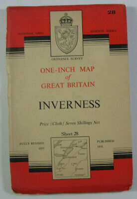 1958 Old OS Ordnance Survey One-inch Seventh Series CLOTH Map 28 Inverness