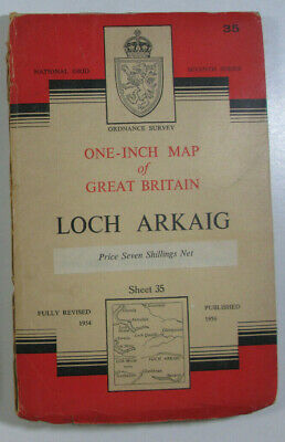 1956 Old OS Ordnance Survey Seventh Series One-Inch CLOTH Map 35 Loch Arkaig