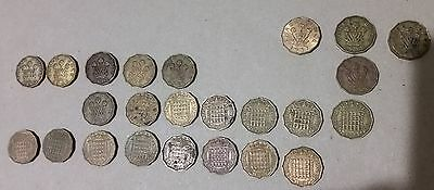 UK Bulk lot of 24 Threepence (3 Penny) coins all different years KGVI & QEII