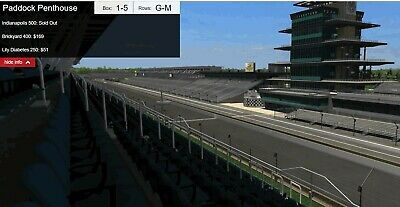 4 Paddock Penthouse INDIANAPOLIS 500 tickets Box 3 Row K Seat 5-8 With Parking