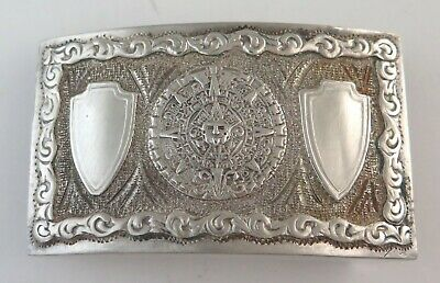 Heavy Vintage Sterling Silver Aztec Sun Stone Etched Mexican Belt Buckle