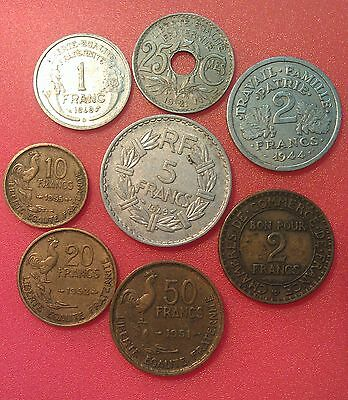 France pre-Euro 8 old coins spanning 1921 - 1955