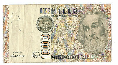 Italy 1982 old 1000 (Mille) Lire Italian pre-Euro paper banknote