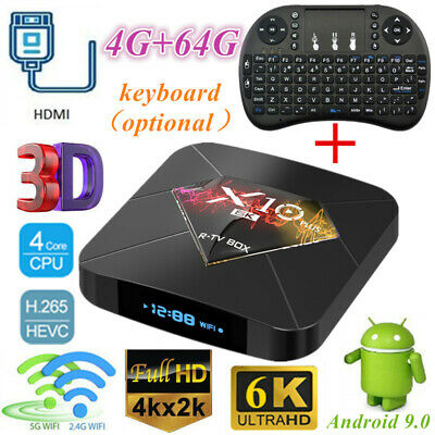 Smart TV Box 4+64G WiFi Lot LCD X10 PLUS 6K H6 Quad Core Player Android+Keyboard