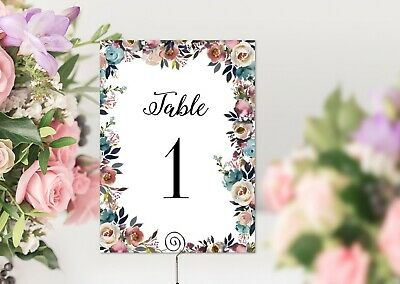 Peonies and Roses Watercolour Navy & Pink Floral Table Number Cards
