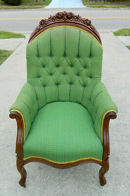 "Walnut Victorian Parlor Arm Chair ""Sleepy Hollow Chair"" circa 1865"