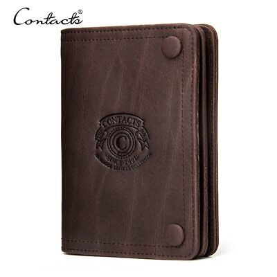 CONTACT'S Men Wallets Brand Design Crazy Horse Genuine Leather Male Short