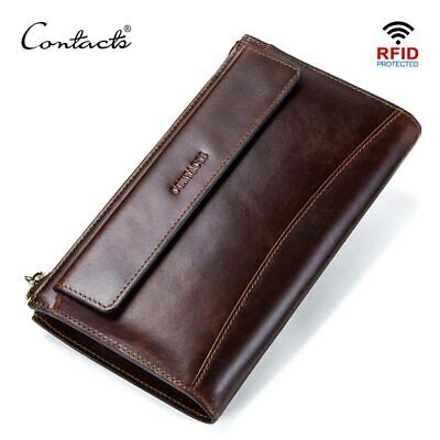 CONTACT'S men clutch RFID genuine leather man's long wallet casual high