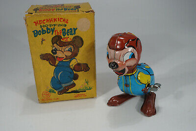 1950's Line Mar Japan Hopping Bobby the Bear  Blechspielzeug /Tinplate in Box