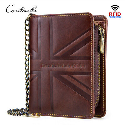 CONTACT'S crazy horse leather wallet men anti theft vintage short walet with