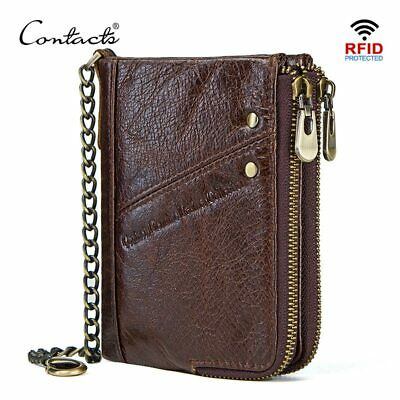 CONTACT'S genuine leather wallets for men RFID short wallet zipper men's small