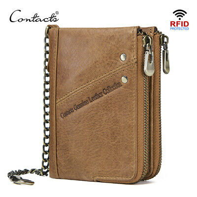 CONTACT'S genuine leather men wallets RFID small wallet card holders short