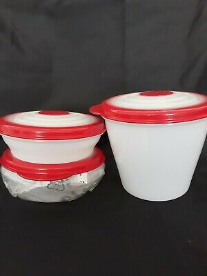 Tupperware ~ Stuffables Bowls Small Set ~ 1 & 3 Cup ~ Sheer & Red ~ New