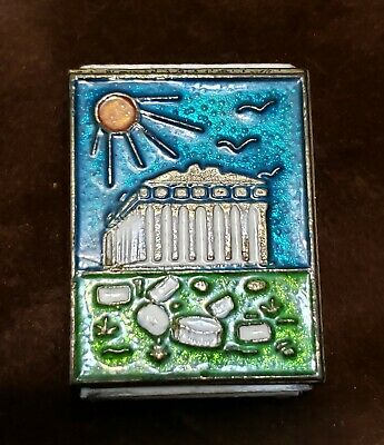 Vintage Brass Vesta Cloisonne Matchbox Holder Case with Unique Picture Front