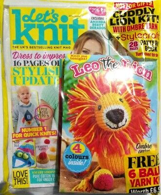 Lets Knit Magazine Issue #144 May 2019 ~ New Sealed With Leo The Lion Kit ~