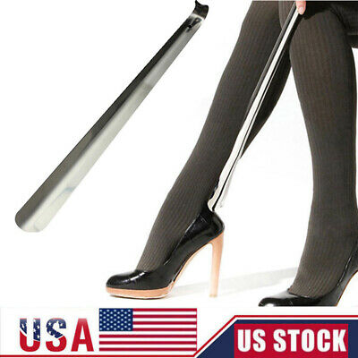 """New 22"""" Long Handled Metal Shoe Horn Lifter Stainless Steel with Hanging Hole"""