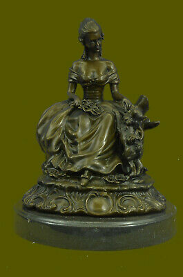 Handmade Extra Large Style figural group of a lady with Pomeranian DogArt