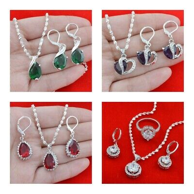 Crystal Pearl Heart Rose Flower Earrings Pendant Necklace Wedding Jewelry Set Jewelry & Watches