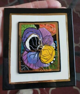 Laura Mostaghel Handpainted Art Tile  Ceramic Brooch 22 kt Gold Pansy Flower