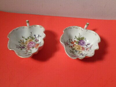 """Antique Pair of 19 Century Helena Wolfsohn Mark Floral Dishes (5 by 3.5 by 1"""")"""
