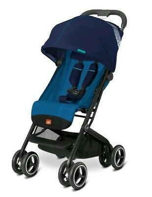 NEW GB Qbit+ Plus Compact Lightweight One Hand Fold Travel Stroller Seaport Blue