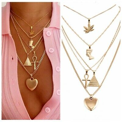 Hot Lady Maple Leaf Pyramid Heart Pendant Chain Multilayer Charm Choker Necklace