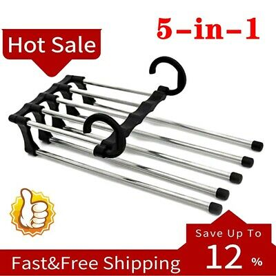 Pants rack shelves 5 in 1 Stainless Steel Multi-functional Wardrobe Magic Hanger