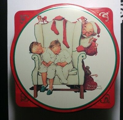 Vtg Snickers Limited Edition Christmas Tin 1995 Norman Rockwell Santa FREE SHIP