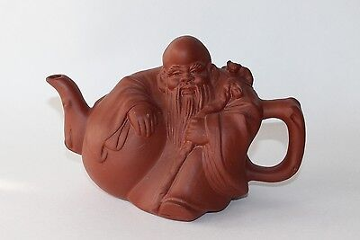 Chinese Pottery Yixing Clay Collectible Tea Pot Old Man with Bat Lid