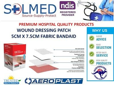 25 FIRST AID BAND AID PATCH 5CMx7.5CM LARGE FABRIC PREMIUM WEIGHT SUPER ADHESION