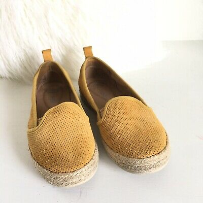 6fd3a83de1e4 CLARKS mustard yellow Gold Suede Espadrille Loafer Flats Size 5.5 Cushion  Soft