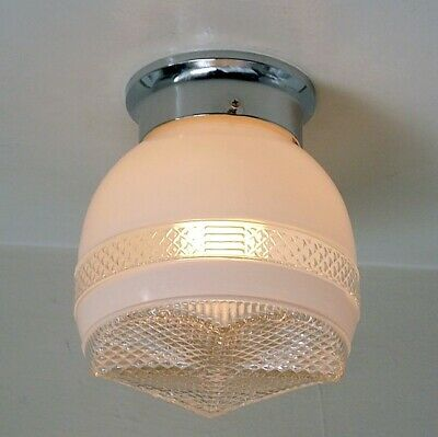 Flush Mount Ceiling Light. Vintage Glass Shade. New Fixture Base.