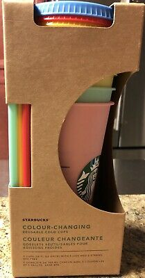 Starbucks Color Changing Cold Cups Tumblers 5 Pack Venti 24oz Reusable