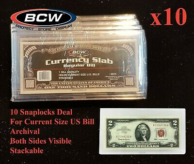 10 BCW Currency Banknote Snaplock Bill Slabs Holders Regular Dollar Modern Notes