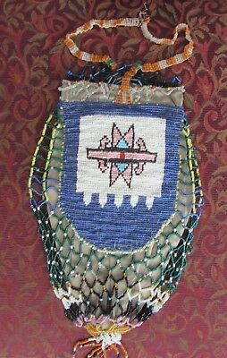 Antique Native American Large Beaded Pouch double sided (possibly Cree ?)