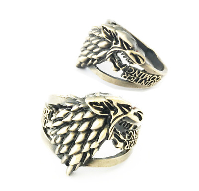 Game of Thrones Season8 Stark Logo Brozen Ring Unisex Metal Figure Rings 20mm