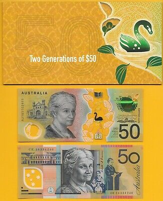 Australia 50 Dollars p-60 2016 & p-new 2018 -- TWO banknotes in folder -- UNC