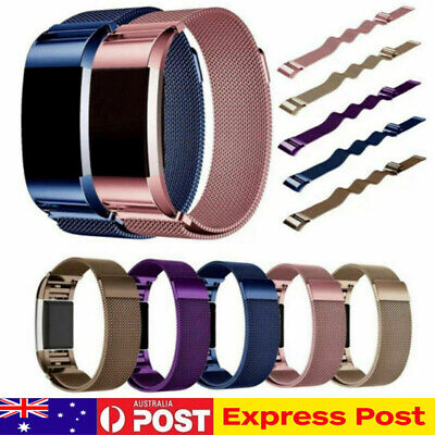 Metal Stainless Steel Milanese Loop Wristband Strap For Fitbit Charge 2 Band AU