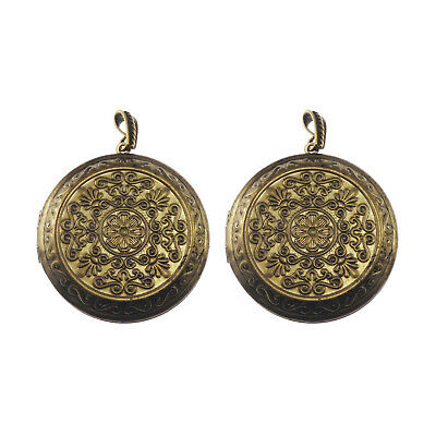 2pcs Antiqued Bronze Brass Floral Ball Locket Charms Pendant Crafts 51420