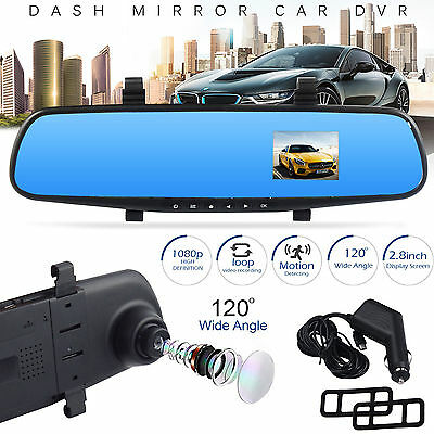"HD Dash Cam Recorder Camera With Mic 1080P In-Car Rear View Mirror 2.8"" Monitor"