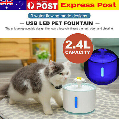 2.4L LED USB Automatic Electric Pet Water Fountain Cat/Dog Drinking Dispenser AU