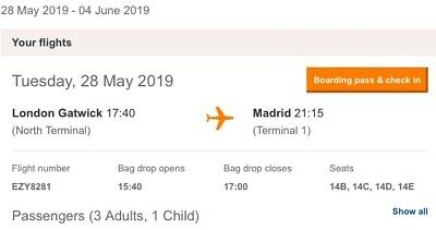 4x Return Flights London Gatwick-Madrid 28.05.19-04.06.19 Ideal Champions League