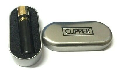 CLIPPER GAS REFILLABLE FLINT BLACK LIGHTER with GOLD TOP and Gift Tin LIMITED