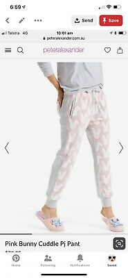 Worn Once Peter Alexander Pink Bunny Cuddle Fluffy Pj Pants Size Small
